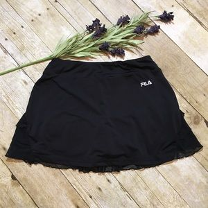 Fila Black Running Skirt With Ruffled Back